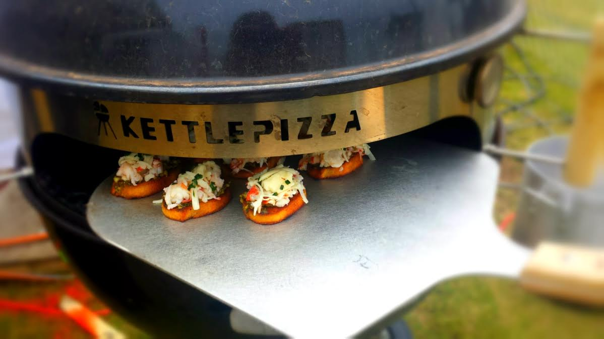Mini-Bruschetta Pizzas on a KettlePizza?  You Got It!